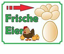 Verkaufsschild Eier rechts, frische Eier, Hofladen,vom Erzeuger,  zu verkaufen