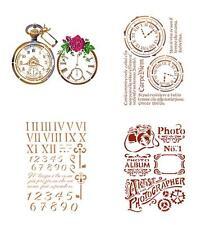 A4 Schablone STAMPERIA Stencil Textil Wand Uhr Uhren Zeit Time NOSTALGIE