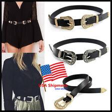 Women Waist Belt Vintage Metal Boho Leather Double Retro Carved Buckle Waistband