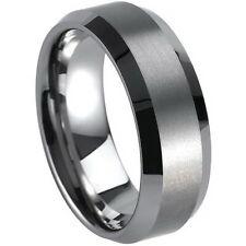 Tungsten Carbide 8MM Mens Silver Brushed Center Wedding Band Wedding Ring M74