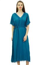 Bimba Women Designer Kaftan Dress With Pom Poms, Short Kimono Sleeve Long Maxi C