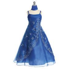 ROYAL BLUE Flower Girl Dress Bridesmaid Wedding Birthday Party Gown Formal ALine