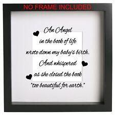 Un angelo nel libro della vita in Vinile Decalcomania Sticker RIBBA CORNICE BOX REGALO di memoria