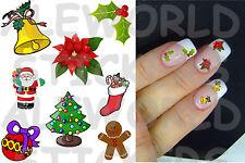 20 ADESIVI unghie NATALE Christmas NAILS ART STICKERS decorazione RICOSTRUZIONE