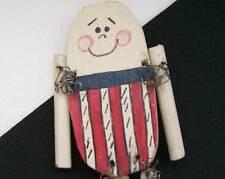 Artisan Americana Humpty Dumpty Fairytale Wood Brooch Pin Moves Dangles