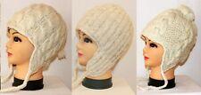 Strickmütze Ohrenklappen Mütze Gr. S M L weiß beige 100% Schafwolle Wintermütze