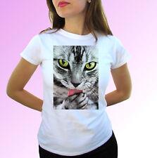 Cabeza De Gato Blanco T Shirt Tee ANIMAL PUSSY Kitty Top-Tallas Para Hombre Mujer Niños Bebé