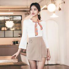 Élégant completo mini falda camisa de mujer rosa blanco refinada cómodo 3398