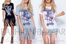 WOMANS Nappa Frangia Lunga T Shirt Mini Abito da Sera Vintage Rock Slogan Eagle Top