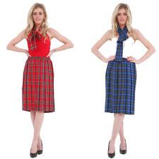 Crazy Chick® School Girl Tartan Check Printed Pleated Long Skirt +Scarf 2Pcs Set