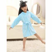 Girls Boys Bathrobe 3D Animal Unicorn Blue Dressing Gown Fleece Night Loungewear