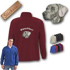 chaqueta con forro suave perro espalda bordado con Weimaraner + Texto deseado
