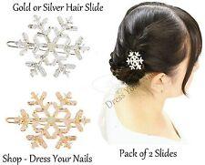 "Gold/Silver Lg Childrens ""Snowflake Hair Slide"" with Rhinestone Frozen Elsa/Anna"