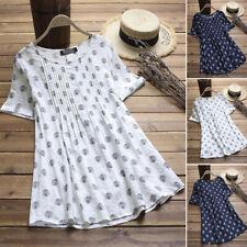 ZANZEA 8-24 Women Short Sleeve Top Tee T Shirt Cotton Polka Dot Tunic Blouse