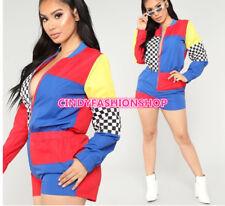 Contrast Color Patchwork Casual Play suits Women Front Zipper  Short Jumpsuit J
