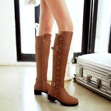 Women Motor PU Leather Rivet Zipper Shoes Riding Combat Knee High Boots Slim Fit