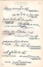 1880 stampa ~ AUTOGRAFI 18th secolo ~ Inc Addison BUFFON Washington ROBESPIERRE