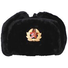 MFH Russische Fellmütze mit Abzeichen schwarz XS-XL Pelzmütze Winter Schapka NEU