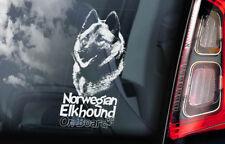 Norwegian Elkhound on Board - Car Window Sticker - Norsk Elghund Dog Decal - V02
