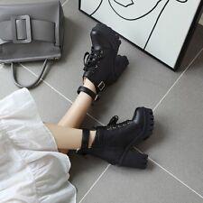 Women Lolita Victorian Fashion High Heel Ankle Boots Platform Round Toe Zip Shoe