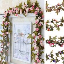 7Ft Artificial Fake Silk Rose Flower Hanging Garland Garden Wedding Party Decor