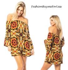 BOHO Gypsy Off Shoulder Bell Sleeve Knit Mini Sweater Dress Tunic Top S M L XL
