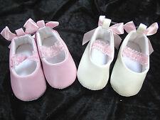 Babyschuhe Ballarinas Ballerinas Taufe Hochzeit 6- 9- 12 -15 creme rosa 16 17 18