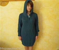maglione tunica con cappuccio blu petrolio KANABEACH pipistrello T 38 ETICHETTA