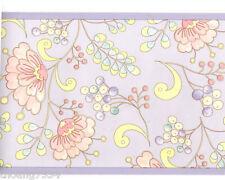 Dena Pastel Snow Flower Floral Art Deco Scroll Lavender Pink Wall paper Border