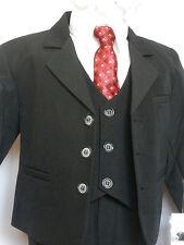New Infant Boy Formal Party Tuxedo Wedding Vest Suit Size 0:12 M,1:18M Black