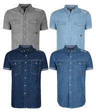 Smith & Jones Men's New Short Sleeve Denim Shirt Light Cotton Grey Blue