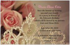 30 50 80 100 150 200 TIARA and PINK ROSE 6x9 Quinceanera Invitation Custom
