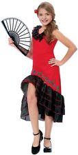 SPANISH MEXICAN LATIN SIZZLING SENORITA FLAMINGO DANCER CHILD GIRLS COSTUME RED