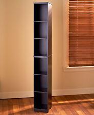 Slim Wood Storage Tower BLACK Cabinet or Baskets Bathroom Kitchen Dorm Apartment