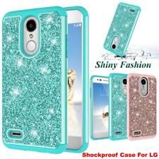 For LG Phoenix 4 / Rebel 4 / Aristo 3 Glitter Bling Hybrid Shockproof Case Cover