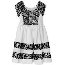 BONNIE JEAN Little Girls 5, 6X Ivory & Black Lace Dress NWT $74