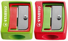 Spitzer für Stabilo Woody und extradicke Stifte, kindersicherer Spitzer grün/rot