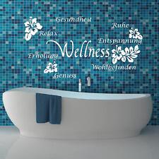Wall Tattoo Wall Sticker Bath Bathroom Wellness Hibiscus Flower Shower +183+