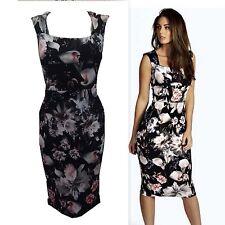 Ladies Women Floral Print Cut Out Key Hole Sleeveless Bodycon Midi Party Dress