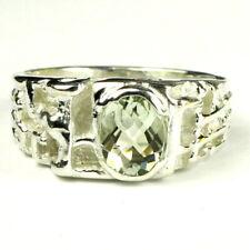 SALE! Green Amethyst Men's Ring, 10k White Gold, Handmade • R197-WG,