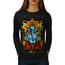 Wellcoda Disco Fever Elephant Womens Long Sleeve T-shirt, Ganesha Casual Design