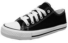 S-3 Women's Low Top Classic Canvas Fashion Sneaker BLACK/WHITE