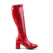 "Funtasma 3"" Block Heel Shiny Red Stretch GoGo Knee Boots Hero Cosplay 5-16"