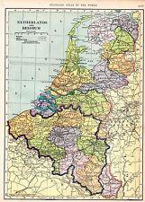 1910 MAP ~ NETHERLANDS & BELGIUM ~ LUXEMBURG AMSTERDAM LEIDEN BRUSSELS