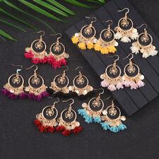 Vintage Bohemian Boho Flower Tassel Hook Dangle Sequin Women's Ethnic Earrings