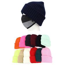 Unisex Mens Womens Plain Casual Knit Watch Cap Beanie Skull Winter Ski Hats