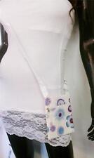 Flowers & Circles Print Messenger Shoulder HandBag Crossbody Women Purple Bag