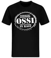 Vorsicht Ossi in RAGE T-Shirt DDR FDJ Retro Lustig Fun Shirt