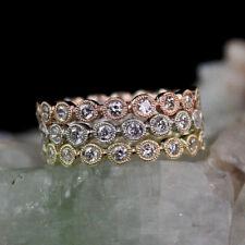 1.0 Carat Tri Color Diamond Eternity Milgrain Bands Three Peace Ring in 14k Gold
