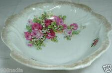 Antique Salad/Fruit Porcelain Bowl Pink Roses & Lily Of The Valley Bavaria